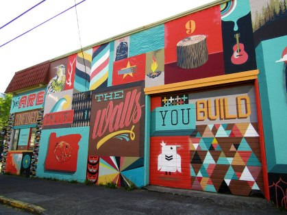To Oregon With Love, a mural by Blaine Fontana, is part of the Forest for the Trees mural project on Albert St. in NE Portland.