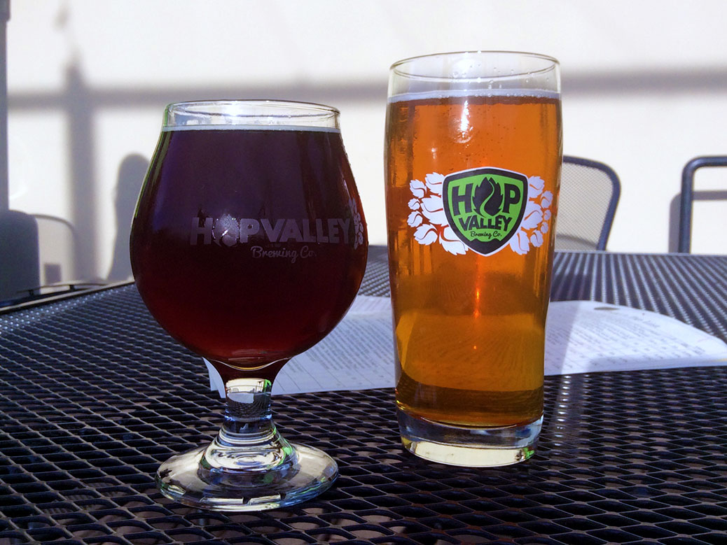 Enjoying the Redside Prophet Imperial Red Ale and Proxima IPA on the patio at Hop Valley Brewing Company in Eugene, Ore.