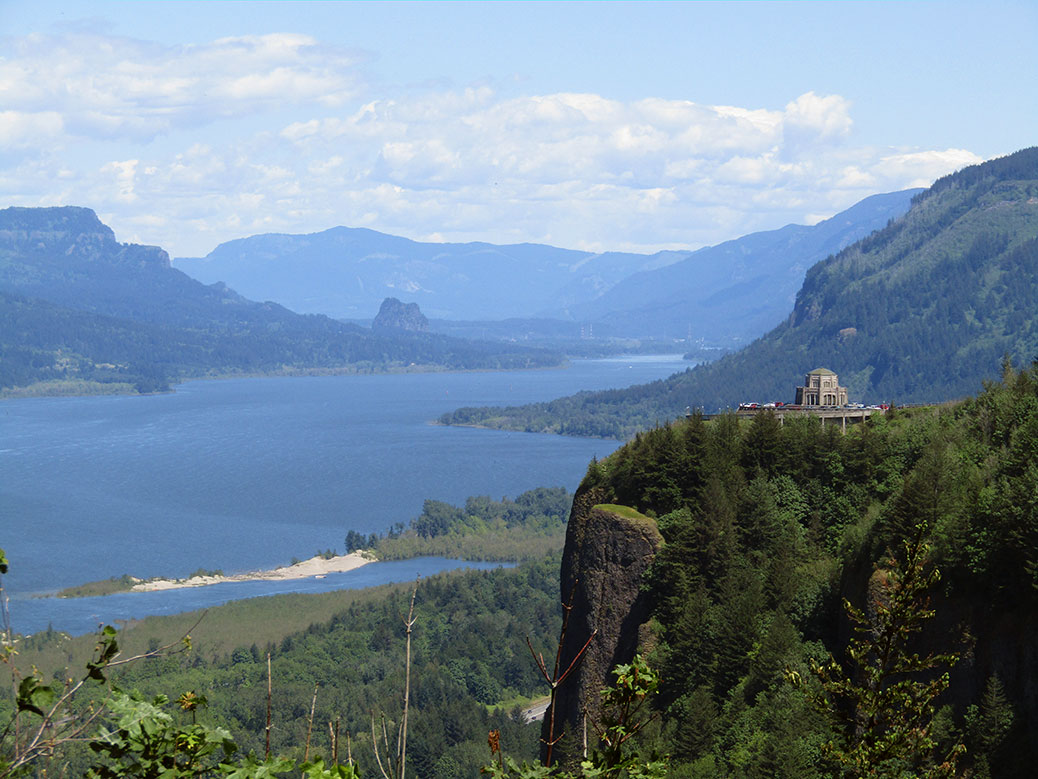 Looking east down the Columbia River Gorge toward the Vista House on Crown Point.