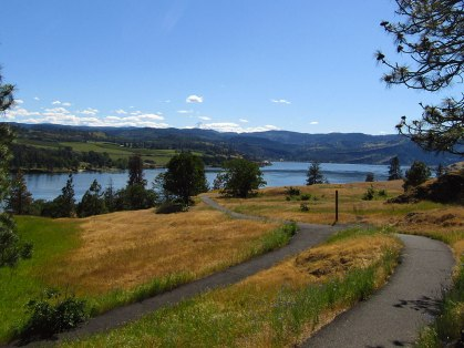 A view of the Columbia River Gorge and Mt. Hood from the Catherine Creek Universal Access Trail on the Washington side.