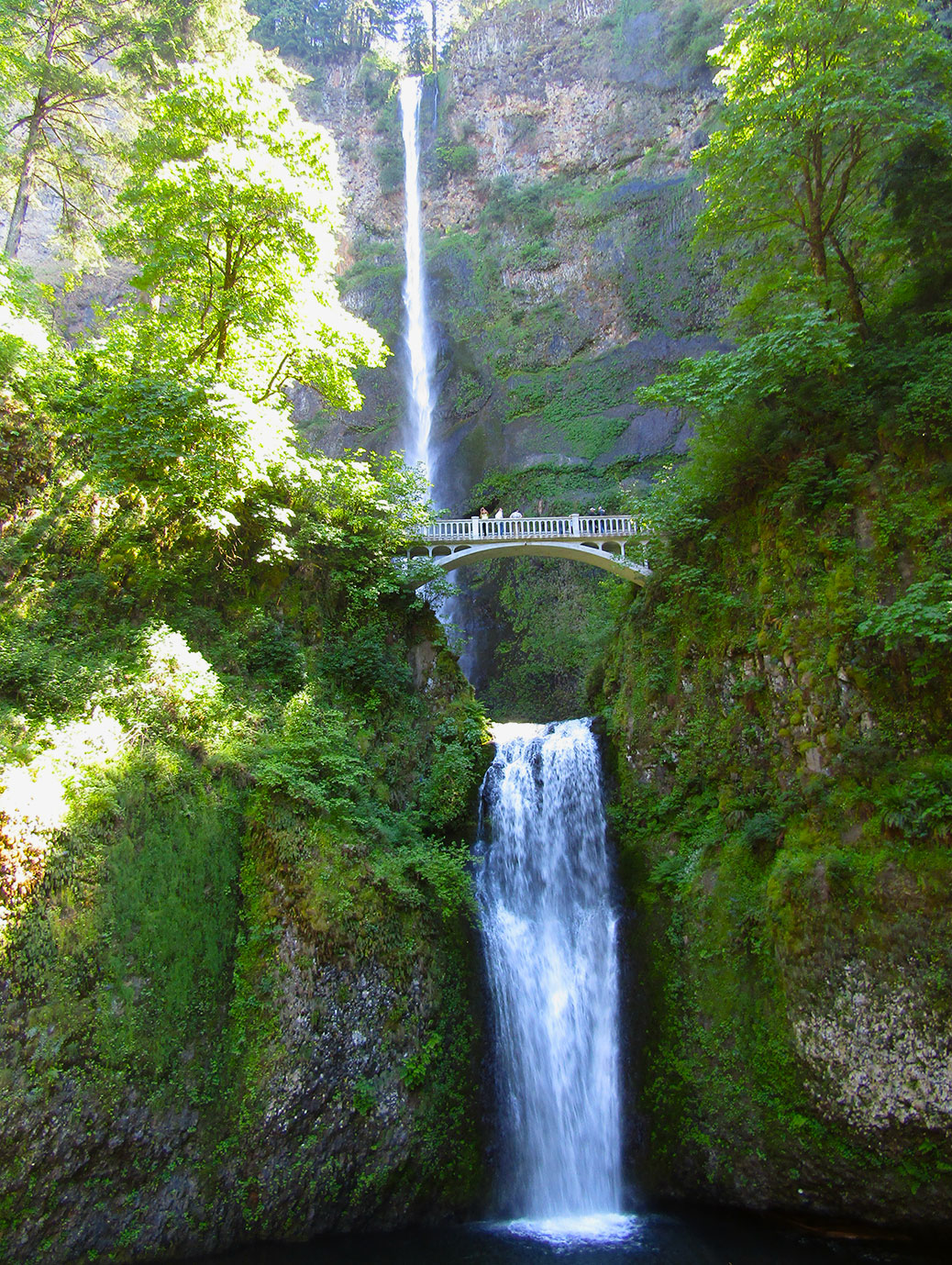 Multnomah Falls is Oregon's tallest waterfall at an estimated 620 feet tall. It flows year-round, making it a popular tourist destination all year long.