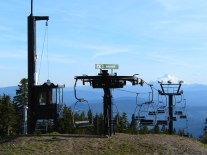 View of Mount Jefferson from Bruno Ski Lift on Mount Hood.