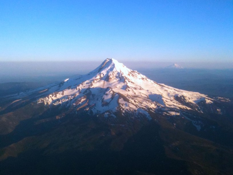 Mount Hood from Airplane