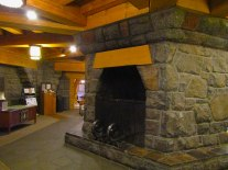 The multi-floor fireplace in the Timberline Lodge lobby. The 90-foot chimney serves as the top of the iconic tower outside.