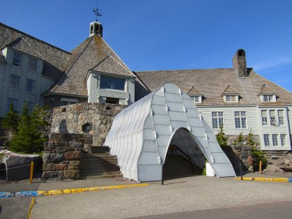 """Historic Timberline Lodge near the summit of Mount Hood. The """"cave"""" protecting the stairs from the snow was still in place in June."""