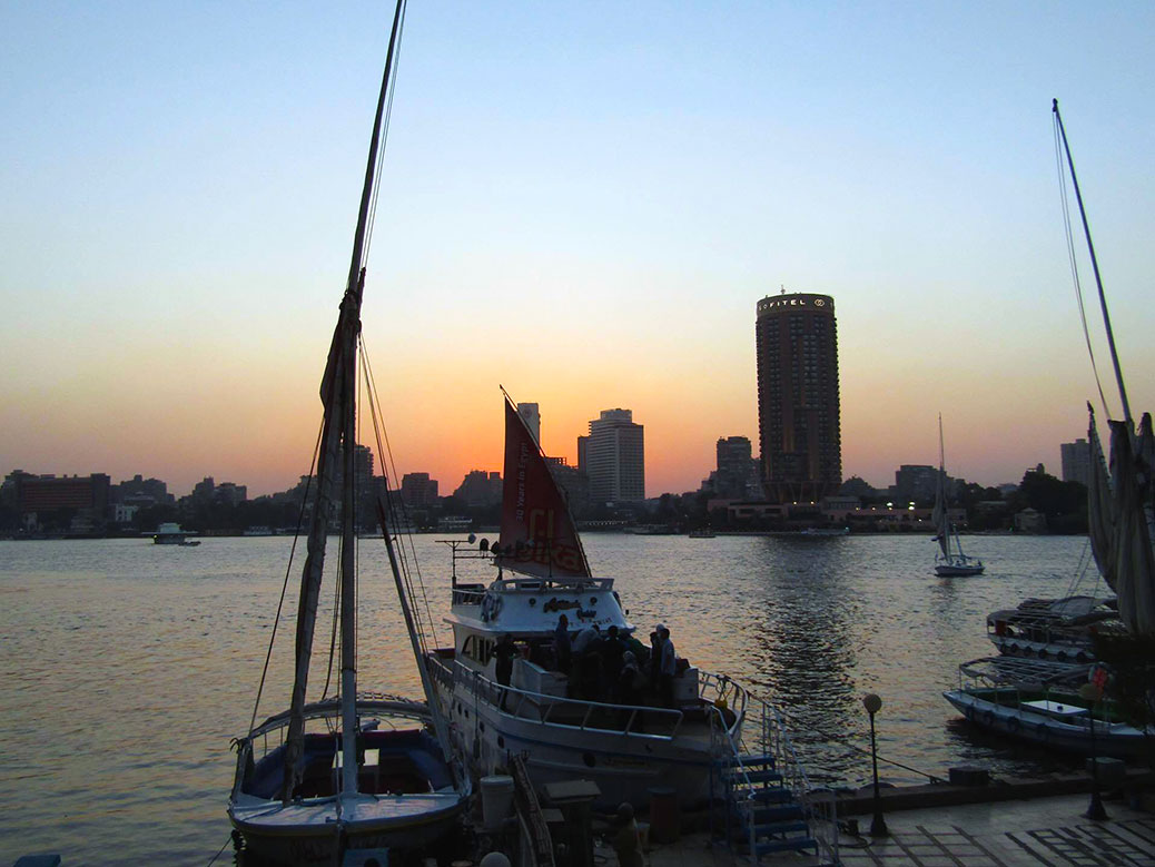 Our boat, another party yacht and a view of the Sofitel Hotel in the Cairo skyline.