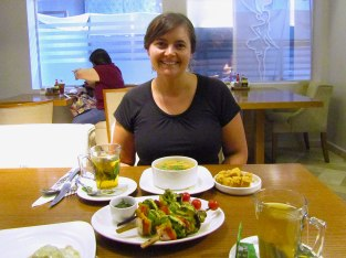 Lunch at Crave with my land lady. I had tea with mint, lentil soup and roasted vegetable skewers.
