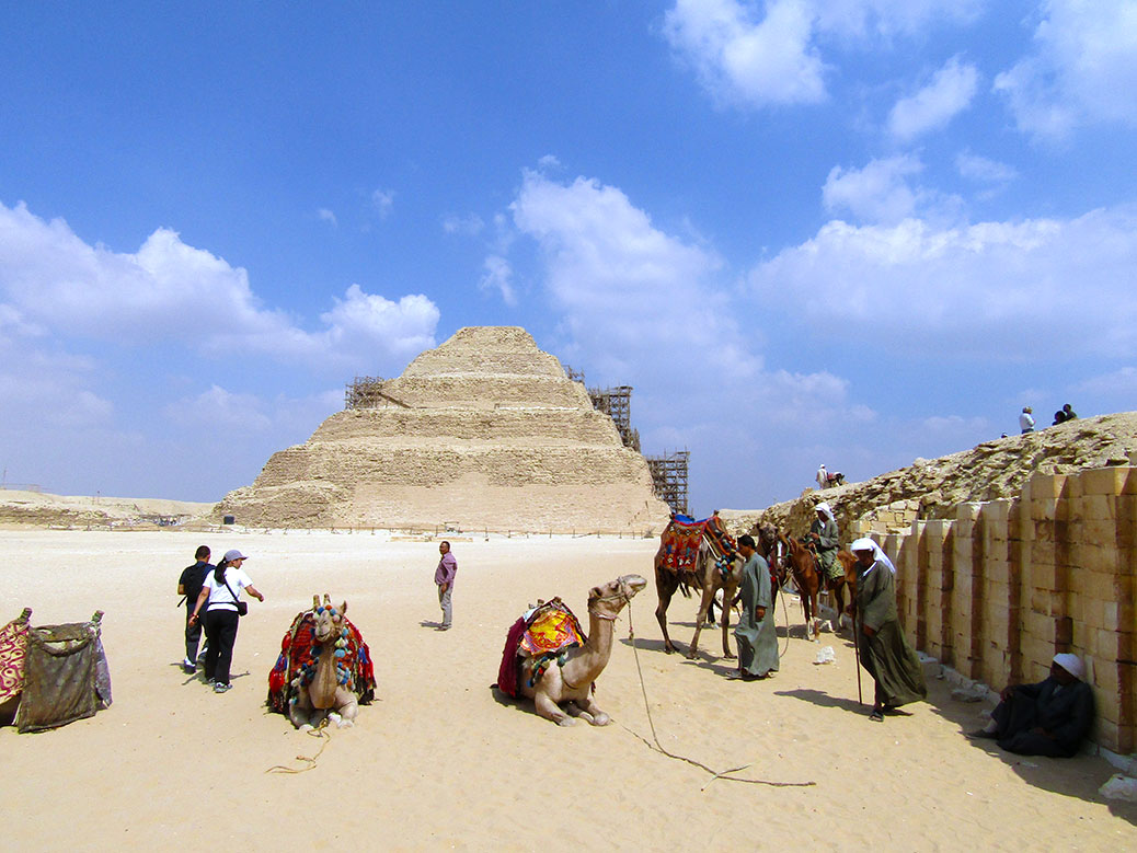 It was a slow day for tourist camel rides at the Pyramid of Djoser.