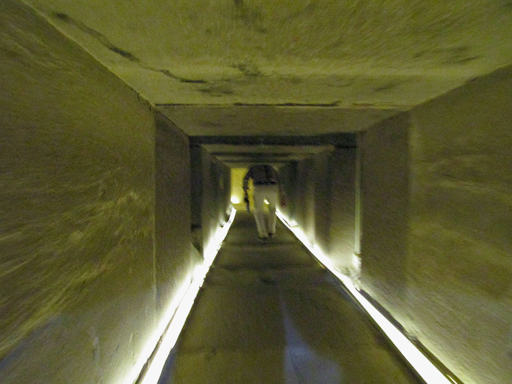 Following Ahmed down the passageway through the Pyramid of Unas.