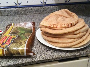 I had groceries delivered. In addition to some fruits and vegetables, I had fresh Baladi (sort of like pita) bread and frozen falafel for dinner. No, I'm not sick of falafel yet!