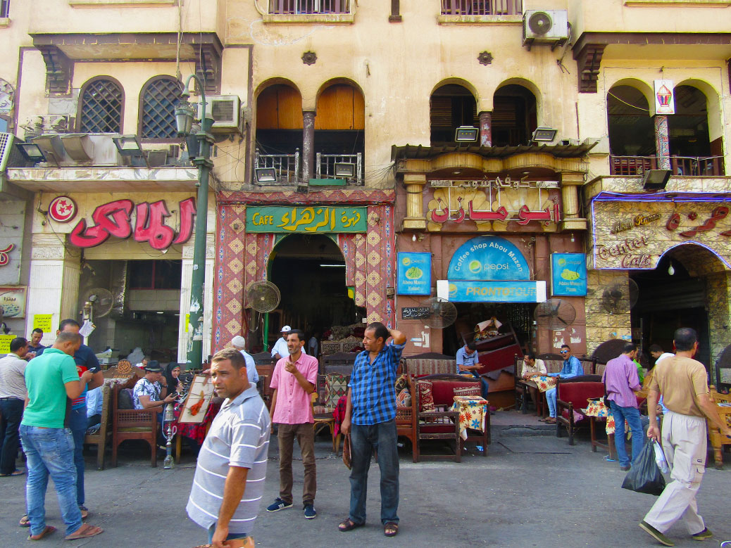 Row of coffee shops on the way to the market. Can you spot the people smoking shisha?