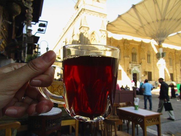 Mint tea in front of Al-Hussein Mosque.