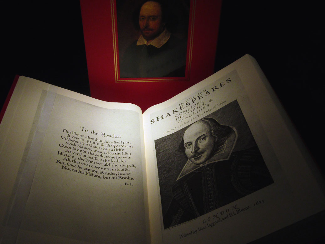 "A copy of Shakespeare's ""The First Folio,"" published in 1623."