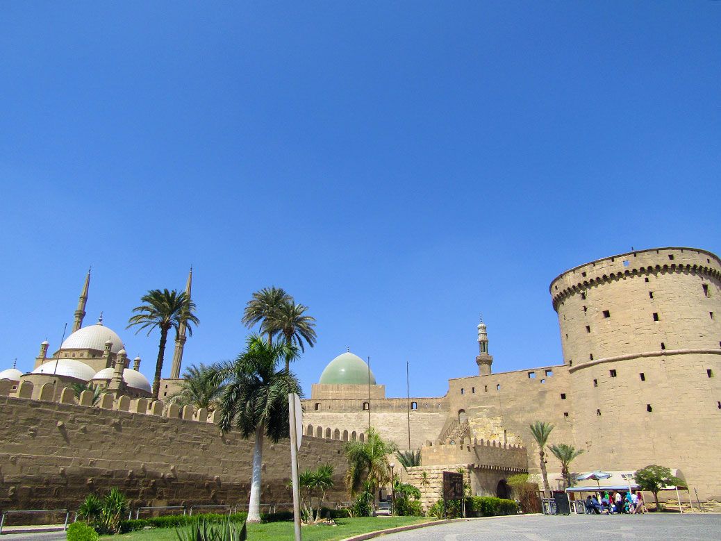 Approaching the walls of the Cairo Citadel. The mosque sits at the summit of the walled city.