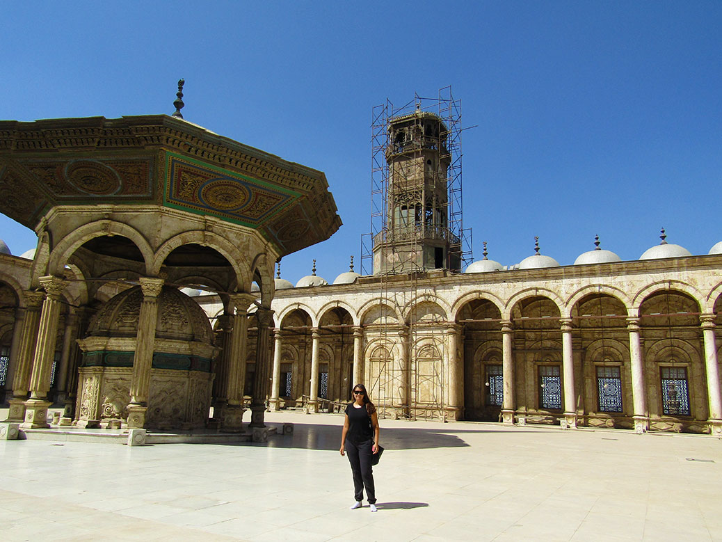 Standing in the courtyard of the mosque and the clock tower. The clock tower was a gift from King Louis Philippe of France in 1845 and my guide said it was a bad gift because the tower didn't have lasting power and started crumbling (see the scaffolding around it?).