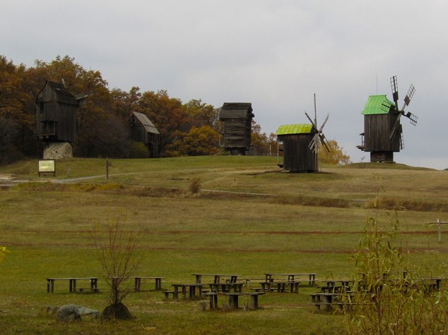 View of all the windmills on the hilltop.