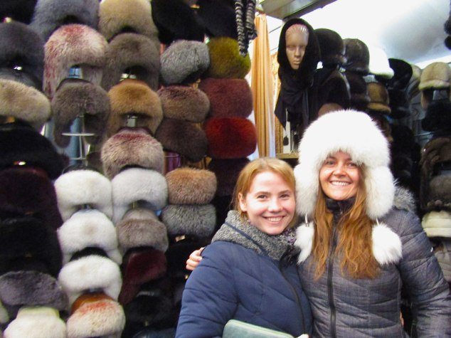 My cousin with me while I tried on a mink hat. It was very warm but… poor mink!