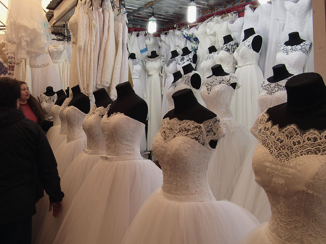 My sister is getting married so we checked out the multiple aisles of wedding dresses and accessories. The dresses were about $100.