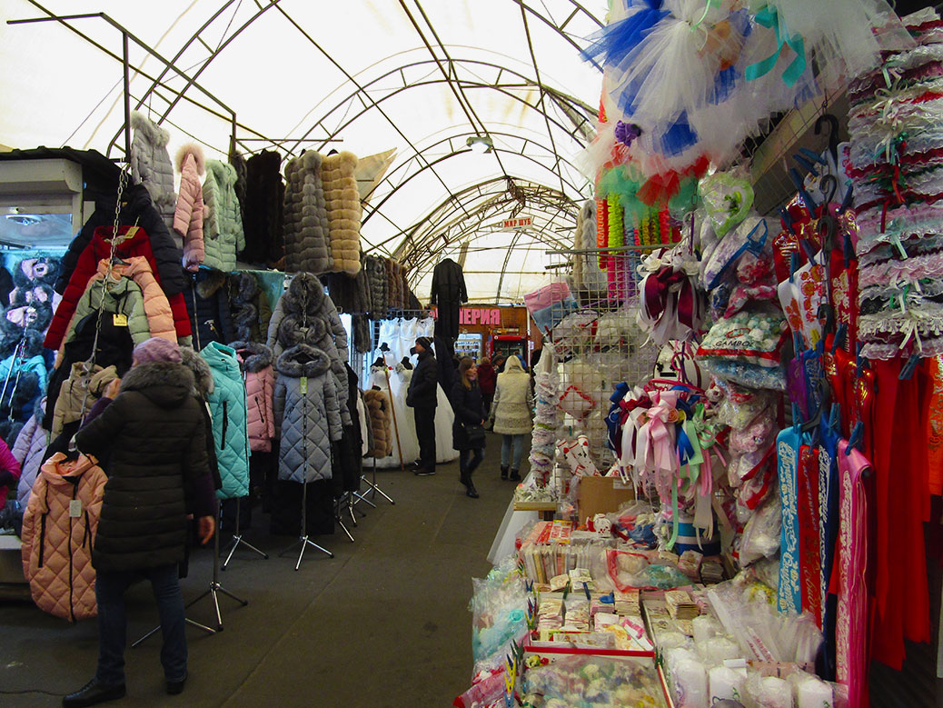 One of the many aisles of the market, thankfully with a roof for the winter weather.