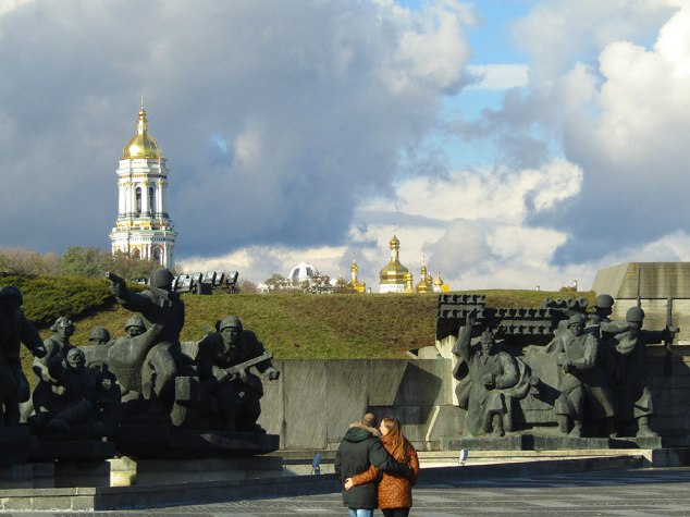 Leaving the WWII memorial complex, you can spot the domes and bell tower of the Pechersk Lavra church.