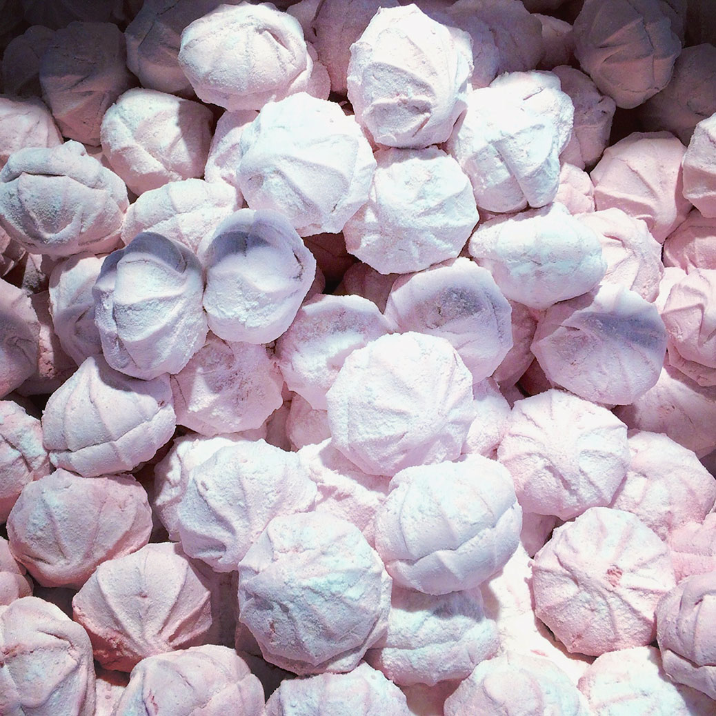 Pink zefir in bulk at Roshen. Zefir is sort of like a marshmallow, but better. It's made by whipping together fruit puree, egg whites and sugar.
