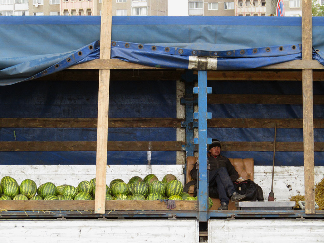 I thought it was funny this vendor had a couch in his watermelon truck.