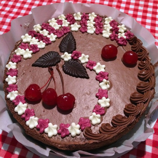 """Cherry Queen"" cake from the Roshen store. It was sort of like a Black Forest cake."