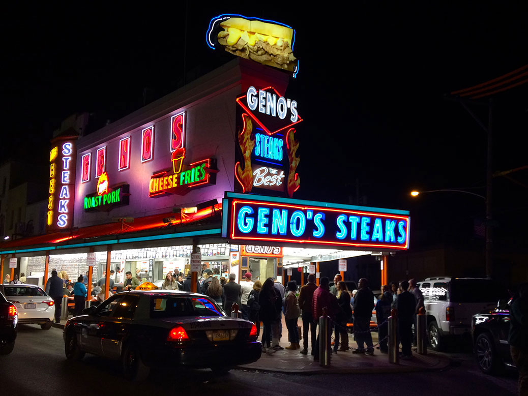 ... and in this corner, Geno's Steaks!