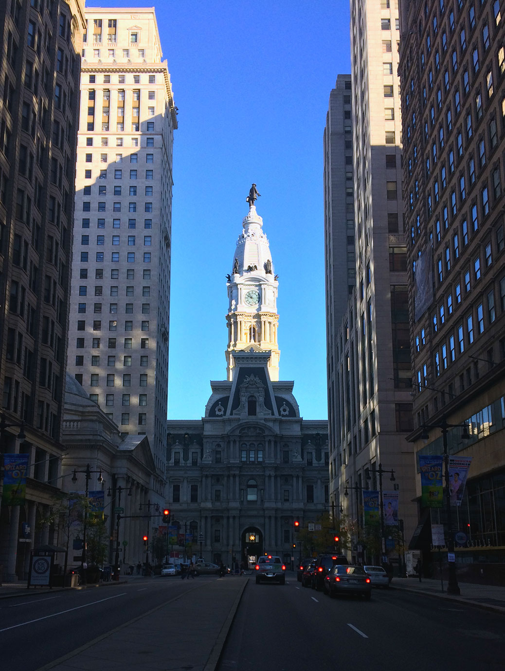 Looking down South Broad Street toward Philadelphia City Hall early on a sunny autumn morning.