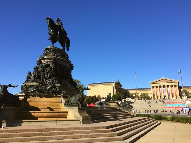 Since 1897, George Washington has kept watch over Eakins Oval in front of the famed steps of the Philadelphia Art Museum.