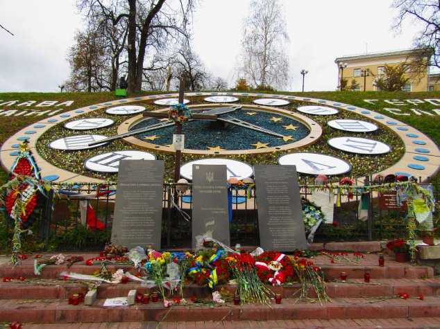 Memorial for killed Euromaidan participants at Heroes of Heavenly Hundred Alley.