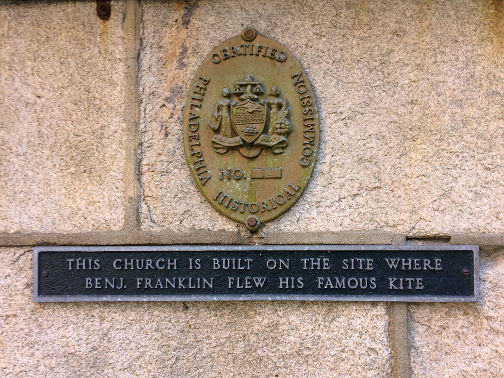 A sign on St. Stephen's Episcopal Church signifies that it was the site where Benjamin Franklin conducted his famous kite experiment, although the Historical Commission oval above it actually pays homage to the nearly 200-year-old church.