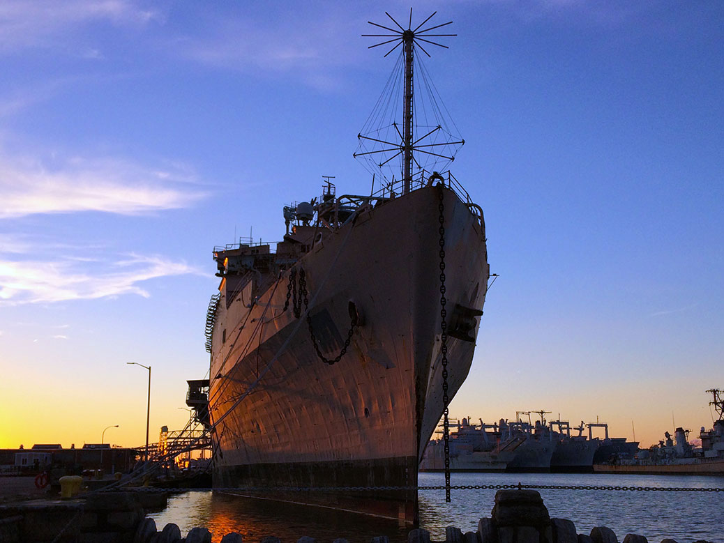 A ship is moored in the Naval Inactive Ship Maintenance Facility at Philadelphia's Navy Yard.